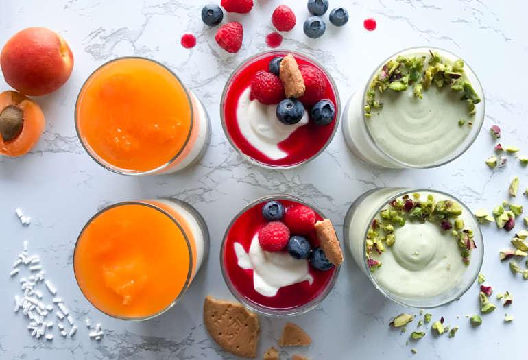 Tris di mini cheesecake: albicocca, pistacchio, frutti di bosco